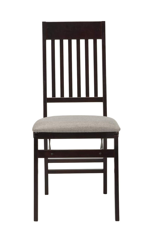 COSCO 37257ESG2E Mission Back Fabric Seat Espresso 2 Pack Folding Chair,