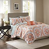 Madison Park Essentials Serenity Cal King Size Quilt Bedding Set - Coral, Medallion – 8 Piece Bedding Quilt Coverlets – Ultra Soft Microfiber Bed Quilts Quilted Coverlet