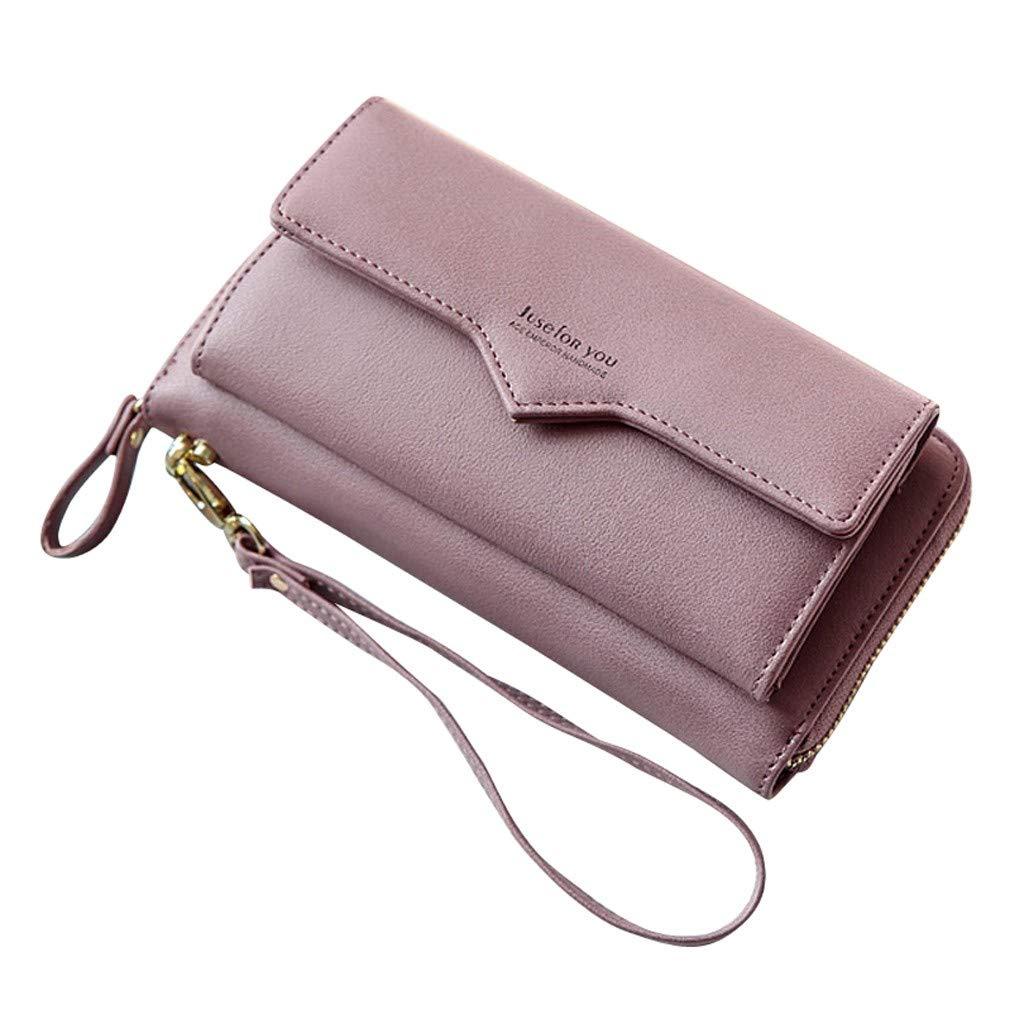 Clearance! Women Simple Zipper Long Purse Wallet Clutch Large Capacity Ladies Purses Card Holder Phone Bags (Purple, 20x3x10cm)