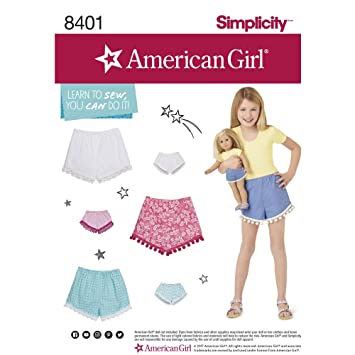 Simplicity Sewing Pattern D0682 / 8401 - American Girl Shorts for ...