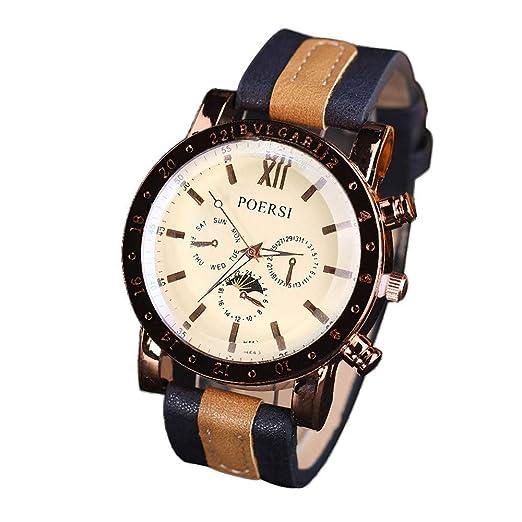 luccyone Lujo Hombre Relojes, Analógico Cuarzo de Piel Deporte Pulsera Reloj, Relojes de Pulsera