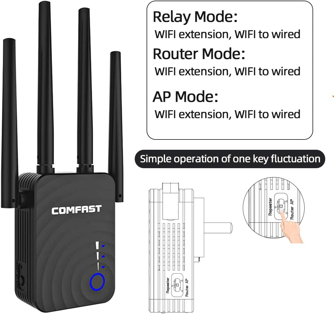 Covers 2,500 Ft Wireless WiFi Signal Range Extender WiFi Repeater ...
