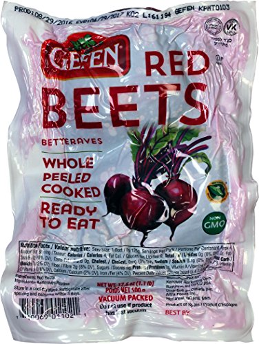 Gefen 'Red Beets' Whole, Peeled, Cooked, Ready to Eat, Vacuum Packed (3 x 17.6oz Bags)