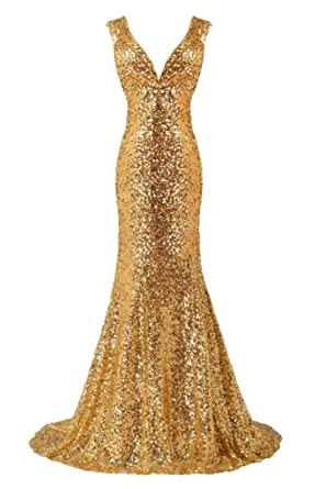Sunvary Sparkling Sequins Gold Mermaid Evening Dresses V-neck Prom Gown: Amazon.co.uk: Clothing