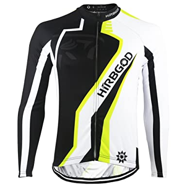 HIRBGOD Green Black Big Logo Mens Cycling Jersey Long Sleeve Lightweight  Bike Clothing f590cf08b