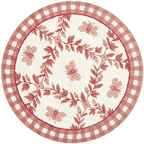 Safavieh Chelsea Collection HK55C Hand-Hooked Ivory and Rose Premium Wool Round Area Rug (3' Diameter)