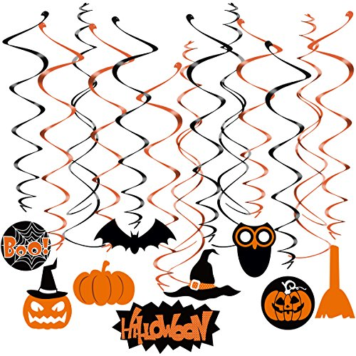 TINKSKY Halloween Swirl Hanging Dizzy Dangler Foil Hanging Decoration for Halloween Party Supplies (10pcs Cross Swirl Hanging + 19pcs Swirl Hanging with Pendant (Halloween Decorations Kids)
