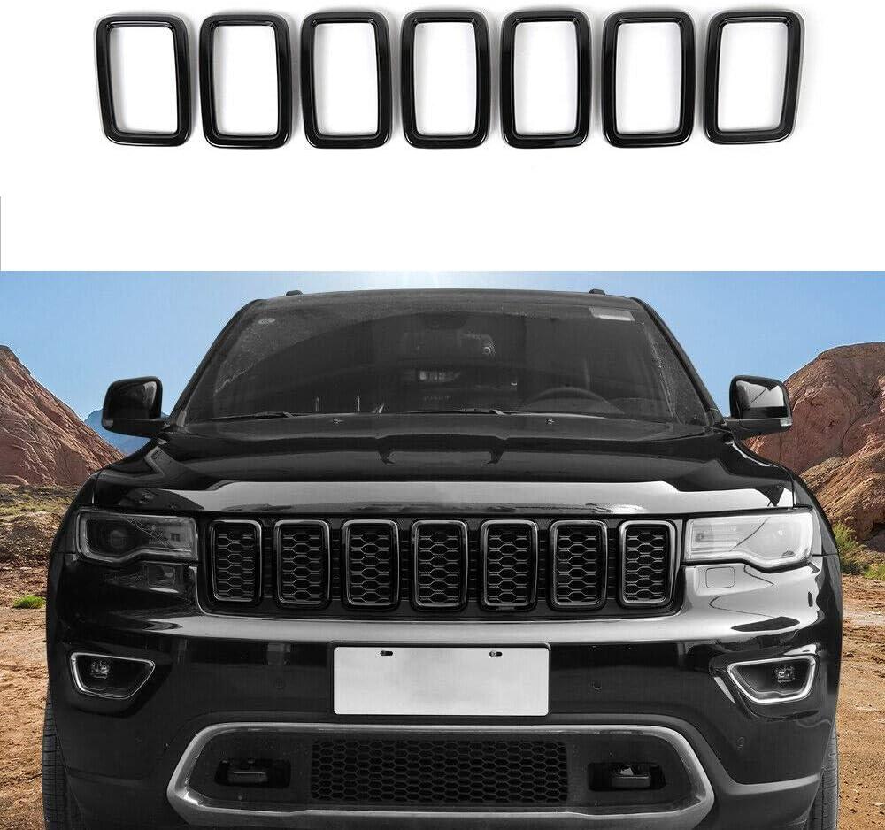 Black Grand Cherokee >> Front Grille Rings Grill Inserts Cover For 2017 2019 Jeep Grand Cherokee Black Grill Frame Trim Kit 7pcs Black