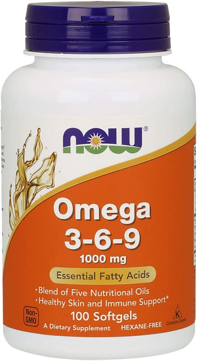 NOW Supplements, Omega 3-6-9 1000 mg with a blend of Flax Seed, Evening Primrose, Canola, Black Currant and Pumpkin Seed Oils, 100 Softgels