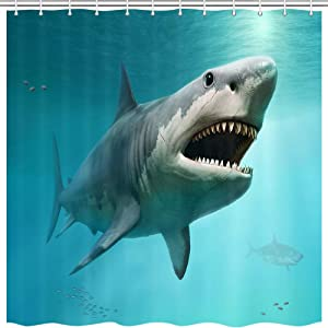 3D Shark Ocean Decor Shower Curtain, sea Animal Megalodon Underwater World Polyester Fabric Shower Curtains Bathroom Curtain Accessories with Hooks 69X70 Inches