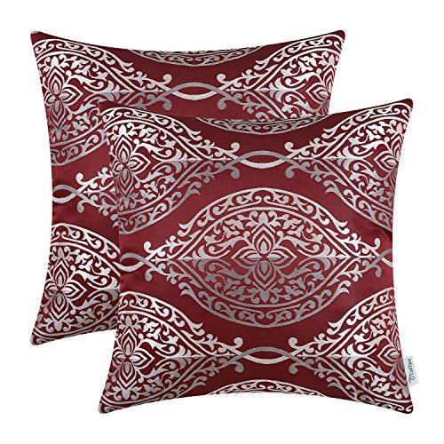 Garnet Pillow Throw - CaliTime Pack of 2 Throw Pillow Covers Cases for Couch Sofa Home Decoration Vintage Yin and Yang Contrast Striped Damask Floral 18 X 18 Inches Burgundy