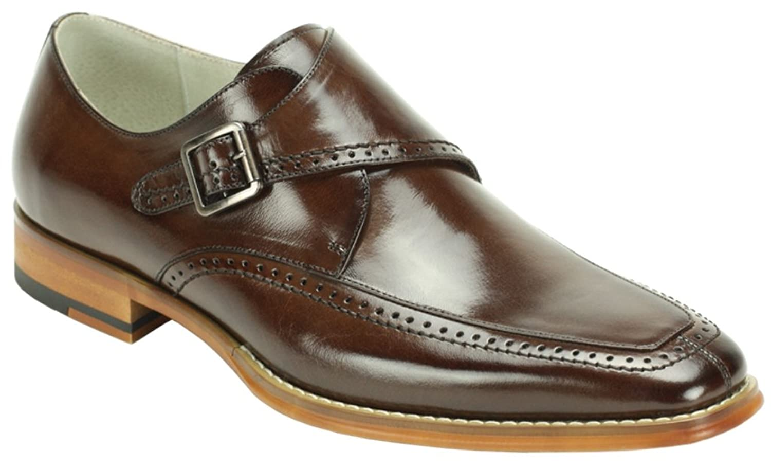 7e83f97cb8ef new Men s Dress Shoes Moc Toe Monk Strap Chocolate Brown Leather AMATO By  GIOVANNI
