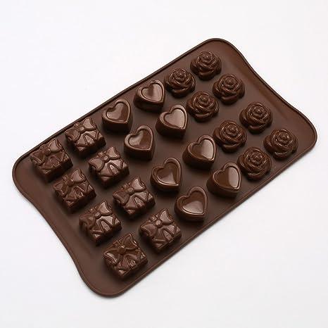 CTGVH Moldes para hacer dulces de chocolate, corazón, rosa, caja de regalo,