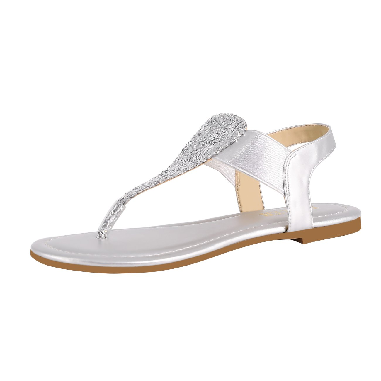 Eunicer Women's Sparkling Thong Elastic Strap Summer Flat Sandals