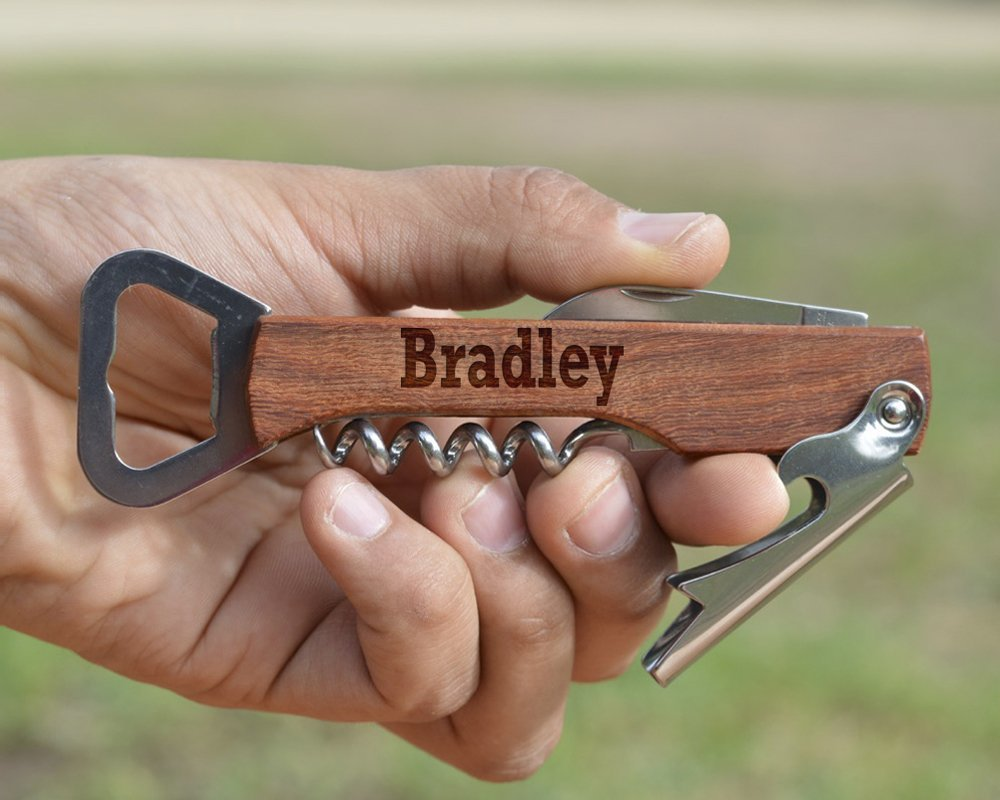 Customized Engraved Wood Corkscrew - Personalized Wine Opener - Wooden Beer Bottle Opener - Multi Tool Corkscrew