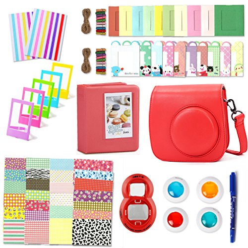 Leebotree Camera Accessories Compatible with Fujifilm Instax Mini 9 or Mini 8 8+ Include Case/Album/Selfie Lens/Filters/Wall Hang Frames/Film Frames/Border Stickers/Corner Stickers/Pen(Raspberry) by Leebotree