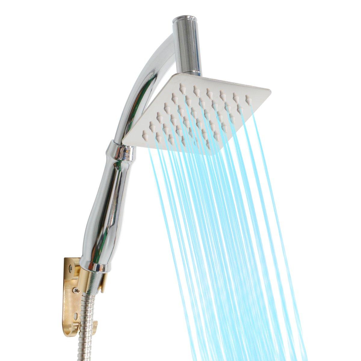 fijo cuadrado Universal Handheld alcachofa de ducha grifos de repuesto con, 2/polos, para cuarto de ba/ño, acabado cromado Saim alcachofa de ducha giratoria de 360//° conjunta