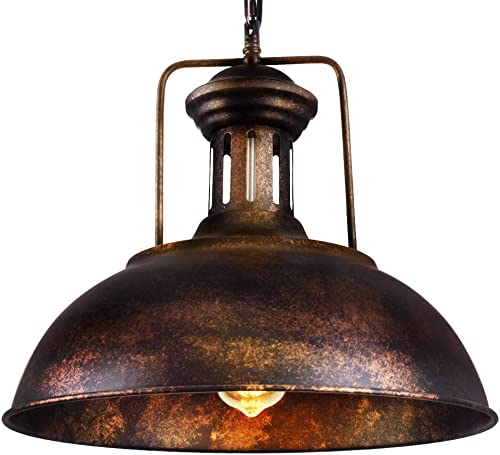 OYI Retro Industrial Pendant Lighting, Vintage Nautical Barn Pendant Light Oil Rubbed Rustic Dome Bowl Shape Mounted Light Fixture Ceiling Lamp Rust Copper