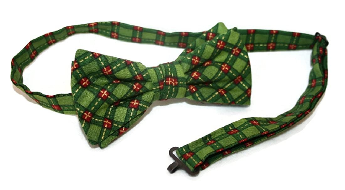 Bow Tie Pre-tied Vintage Green & Red Holiday Plaid Design for Baby to Men