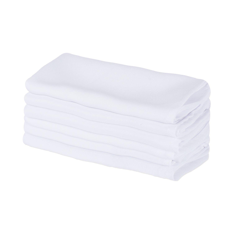E-Living Store ポリエステル 業務用品質 高耐久 バルク 布製ナプキン (18x18-インチ) レストラン家庭用 6-Pack ホワイト FBA43765 6-Pack ホワイト B06XWKLVX6