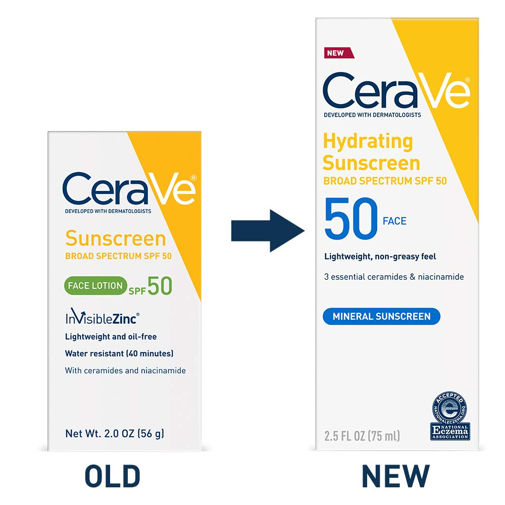 CeraVe Sunscreen Face SPF 50, 2 oz, Old Formula (Discontinued)