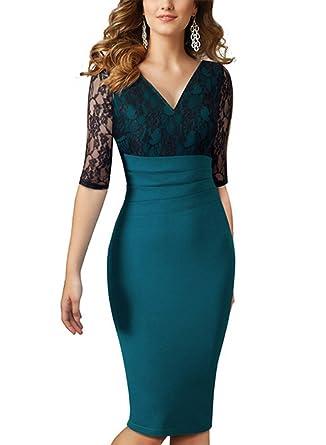 MABELER Damen Elegant Spitzenkleid V-Ausschnitt Cocktailkleid ...