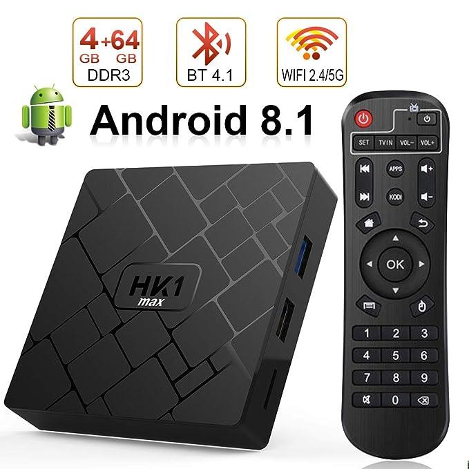 Android 8.1TV Box, LIVEBOX Android Box 4GB RAM/64GB ROM RK3328 Quad-Core Media Box Soporte Dual-WiFi 2.4GHz/5GHz 64 bits H.265 Bluetooth 4.0 DLNA UHD 4K ...