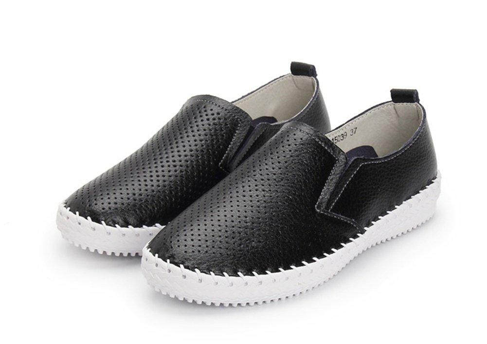 XIE Verano Primavera Otoño Rhinestones Hilo de Coser Ahueca hacia Fuera los Zapatos de Las Mujeres Respirables de Moda Zapatos Planos Bajos Pequeños Zapatos Blancos Mujeres, Black, 36 36|black