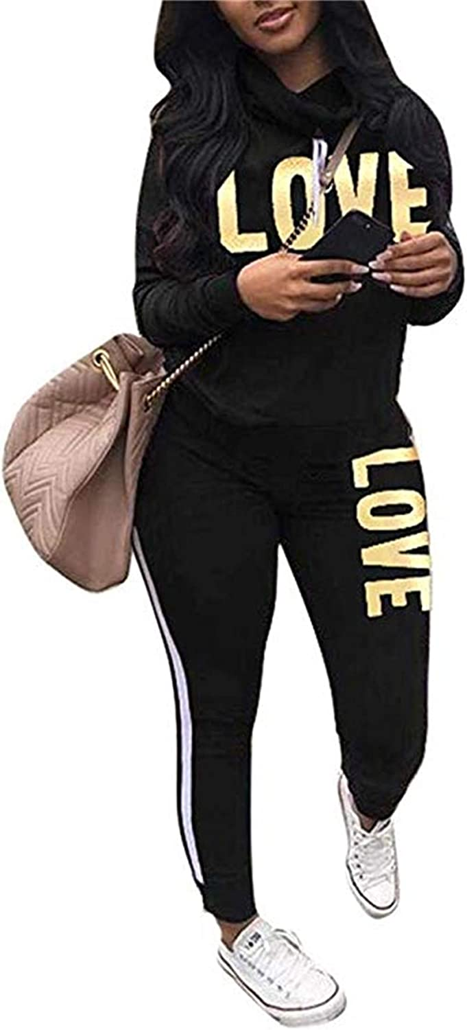 Amazon Com Women S Letter Print 2 Piece Outfits Jogging Suit Set Cowl Neck Long Sleeve Sweatshirt Tracksuit Plus Size Clothing