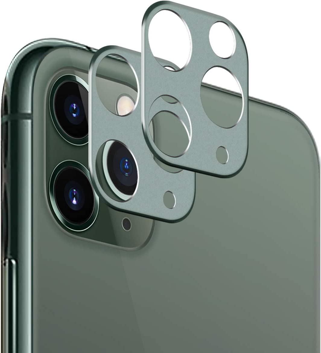 Casetego for iPhone 11 Pro Max/11 Pro Camera Lens Protector, [2 Pack] Aluminum Alloy Lens Protective Ring Circle Metal Camera Lens Protector for Apple iPhone 11 Pro Max/11 Pro,Midnight Green