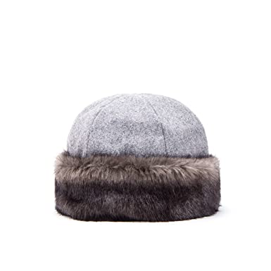 Hat with Faux Fur Trim - 00797 grey Brixton