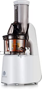 Ventray Slow Press Masticating Juicer,Easy to Clean,Reverse Function, BPA Free,Large Feed Chute,Juice Extractor,Brush,Recipe,Juice Jars,White