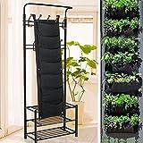 go2buy 7 Pockets Black Indoor Outdoor Garden Vertical Living Wall Planter Hanging Planter Growing Bag