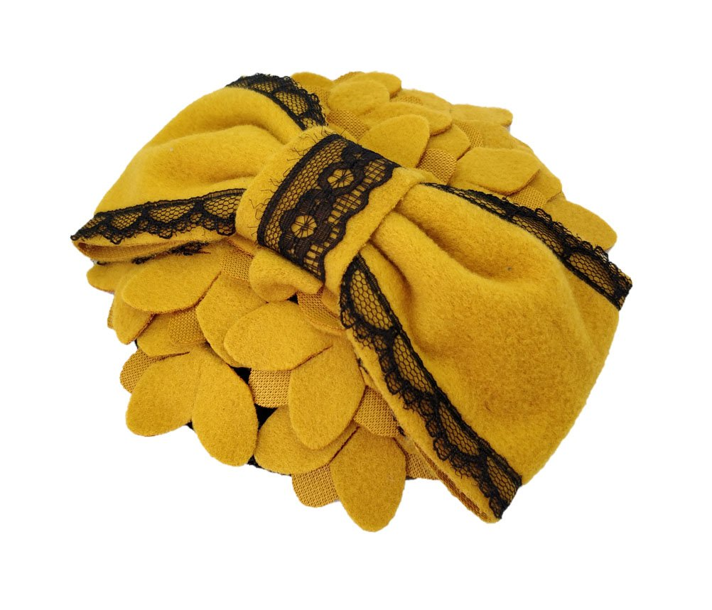 Ahugehome Fascinator Hair Clip Headband Pillbox Hat Bow Flower Wool Vintage Party (M Mustard Yellow)
