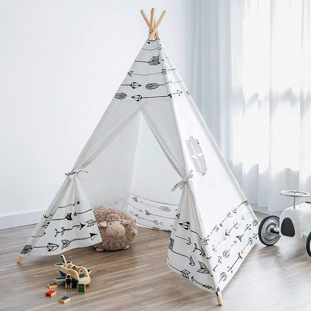Teepee Tent for Kids Foldable Kids Play Tent for Girl and Boy with Carry Case & Bunting Room Decor Indoor & Outdoor Cotton Canvas Teepee