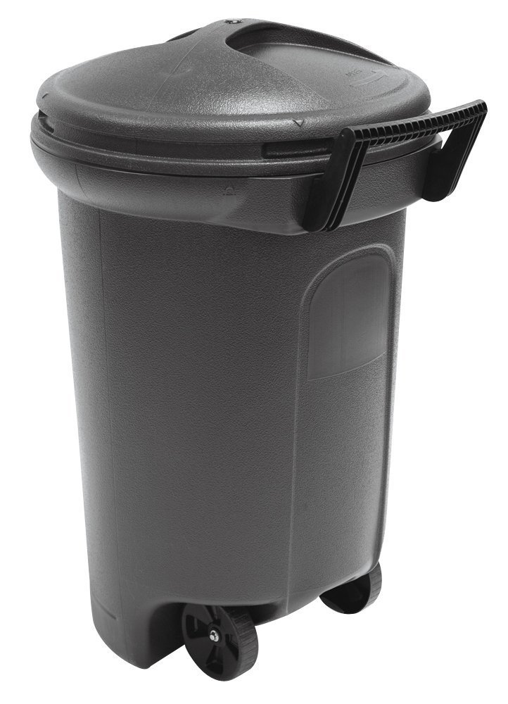 United Solutions TB0042 Critter Proof Wheeled Garbage/Trash Can with Turn and Lock Lid, 32-Gallon, Black, 2-Pack by United Solutions