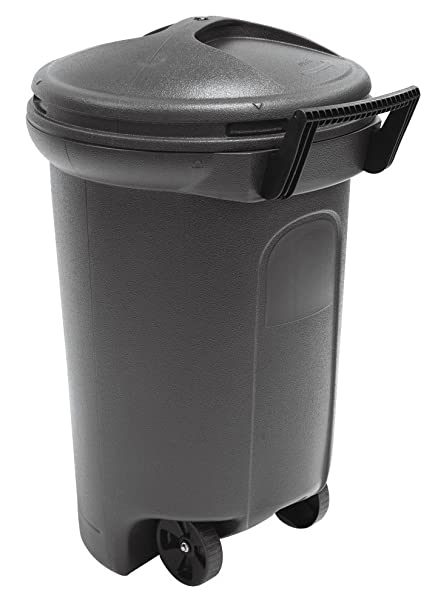United Solutions TB0042 Critter Proof Wheeled Garbage/Trash Can with Turn  and Lock Lid, 32-Gallon, Black, 2-Pack