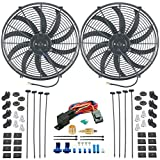 "American Volt Dual 16"" Inch Electric Radiator Cooling Fans 1/2"" 3/8"" Fan Ground Thermostat Kit"