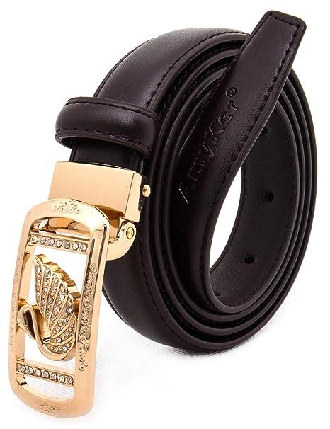 2725f2725 AmyKer Women Leather Belt Waist Skinny Dress Belts Fashion Gold Metal  Buckle with Rhinestones Belt For Jeans Pants, Wide 22/28 mm,Thin belts, ...