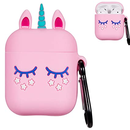 brand new 67b49 2dc7b Punswan Pink Unicorn Airpod Case for Apple Airpods 1&2,Cute 3D Funny  Cartoon Character Soft Silicone Catalyst Pony Cover,Kawaii Fun Cool  Keychain ...