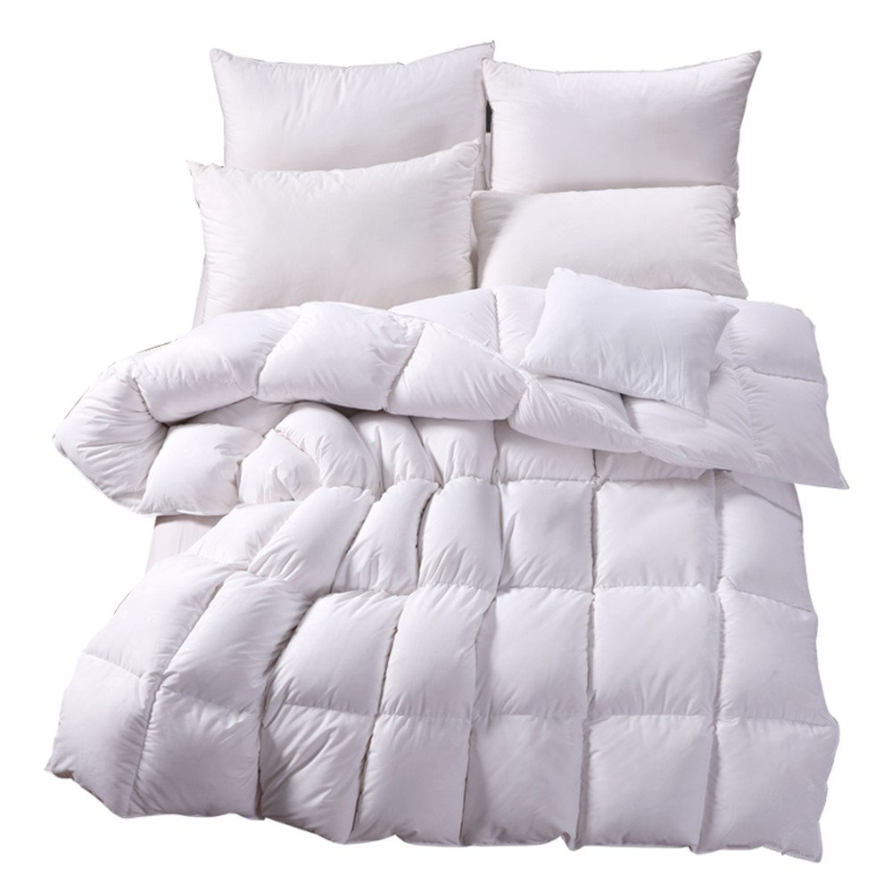 Nature Goose Down and Feather Bed Comforter Quilt Duvet Insert,Orangic Cotton Shell,Size King,White