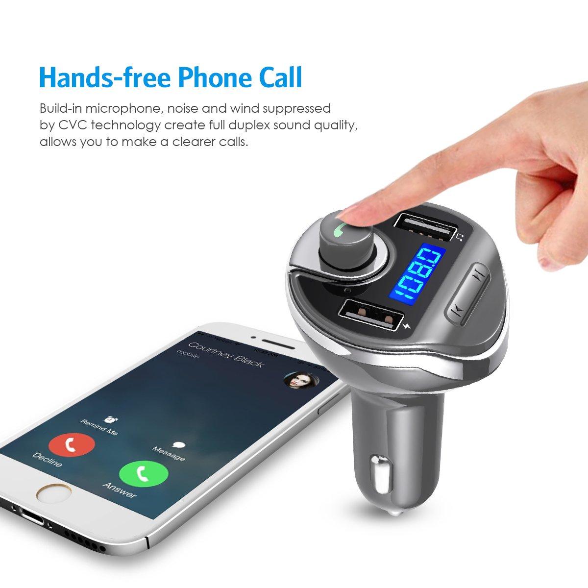 Voiture Bluetooth Transmetteur FM Sans Fil Chargeur Voiture avec 2 USB Port 5V//2.1A et 1A Lecteur MP3 avec Micro Kit de Voiture Mains Libres Bleu Criacr Transmetteur FM Bluetooth