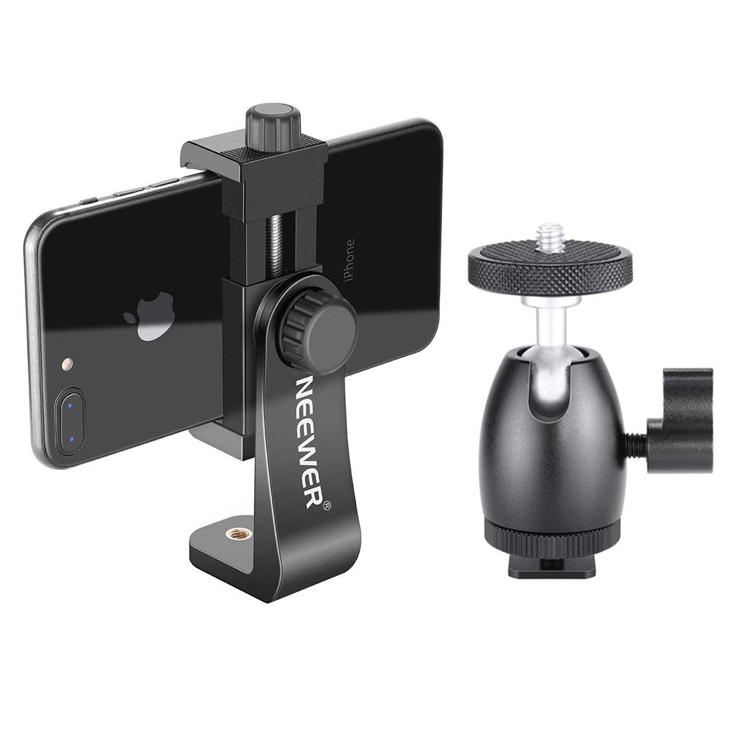 Neewer Cellphone Holder Clip Desktop Tripod Mount with Mini Ball Head Hot Shoe Adapter for 14-inch and 18-inch Ring Light and iPhone, Samsung, Huawei Smartphone Within 1.9-3.9 inches Width by Neewer