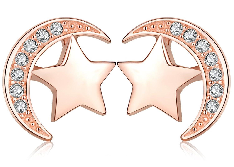 Elegantes pendientes color oro rosa con diseño de luna y estrella marca