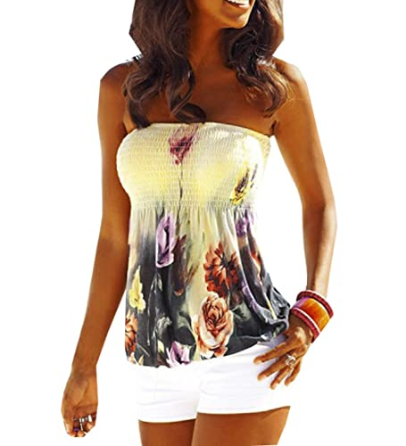 Women's Floral Print Strapless Pleated Tube Top Shirt