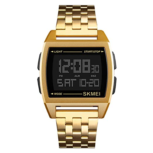 Reloj Hombre Contraluz Cuenta Atrás Cronógrafo Digital Impermeable Business - Dorado: Amazon.es: Relojes