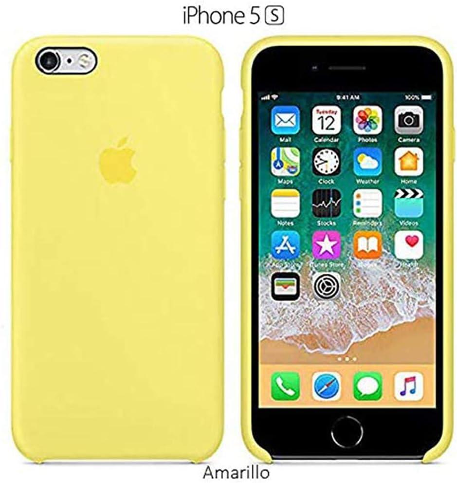 Funda Silicona para iPhone 5 y 5s Silicone Case Calidad, Textura Suave, Forro Interno Microfibra (Amarillo)
