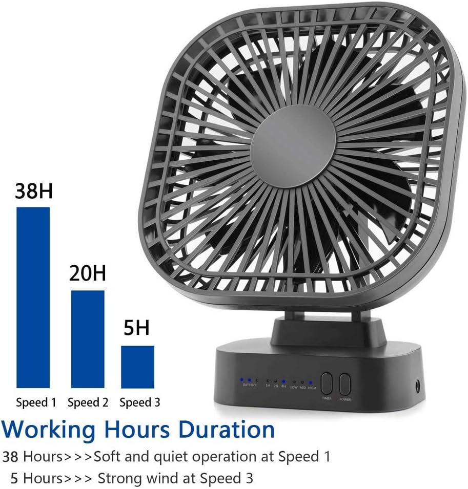Color : Black TRDyj Mini USB Fan Rechargeable Battery Fan with Timer Strong Wind 3 Speed 7 Fan Leaf Desktop Portable Quiet Office Camping Outdoor