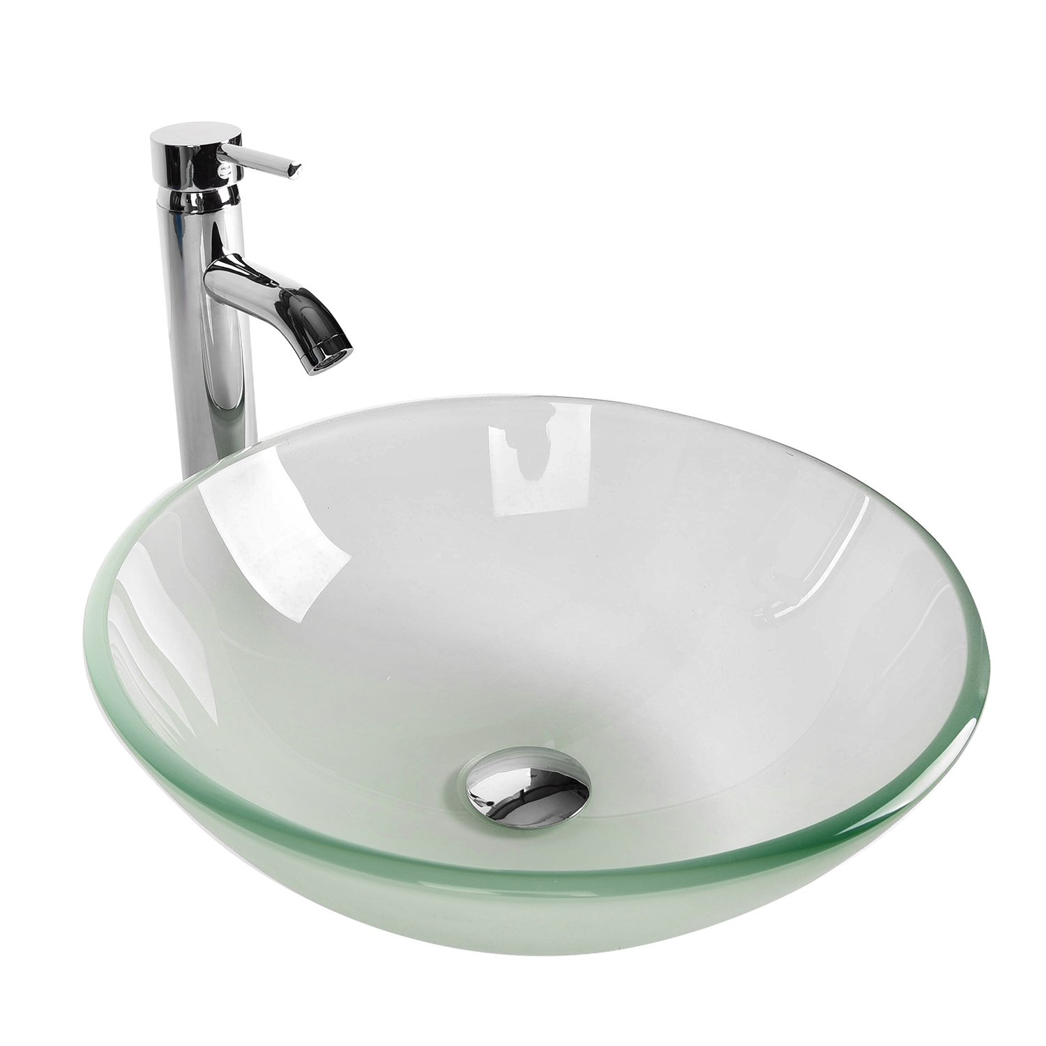 Bathroom Vessel Sinks Faucet Combo Modern Frosted Tempered Glass Round Single Hole Lavatory Chrome Brass Free Standing Above Counter 16.5 inch 1.5GPM 1/2'' & 3/8'' (Natural Frosted) by Elecwish