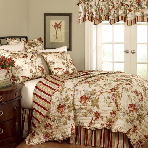 Waverly 11396FULL/QUEENPPY Charleston Chirp 88-Inch by 90-Inch 4-Piece Full/Queen Quilt Set, Papaya ()
